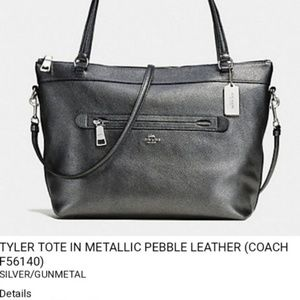 Coach Tyler Tote Mettalic pebble leather